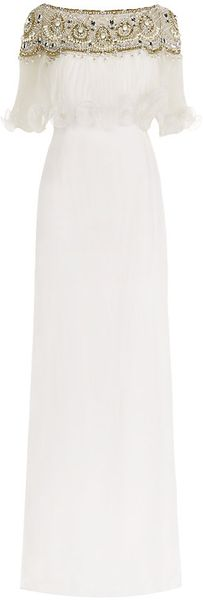 Marchesa Embellished Off the shoulder Gown - Lyst