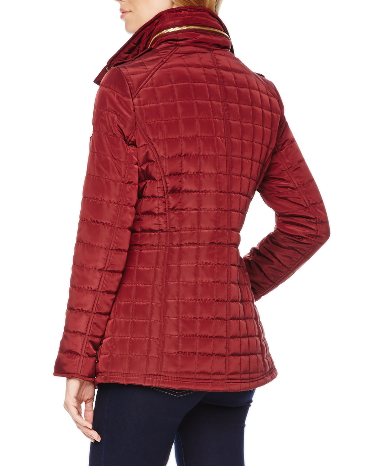 Lyst Michael Kors Michael Quilted Puffer Jacket In Red