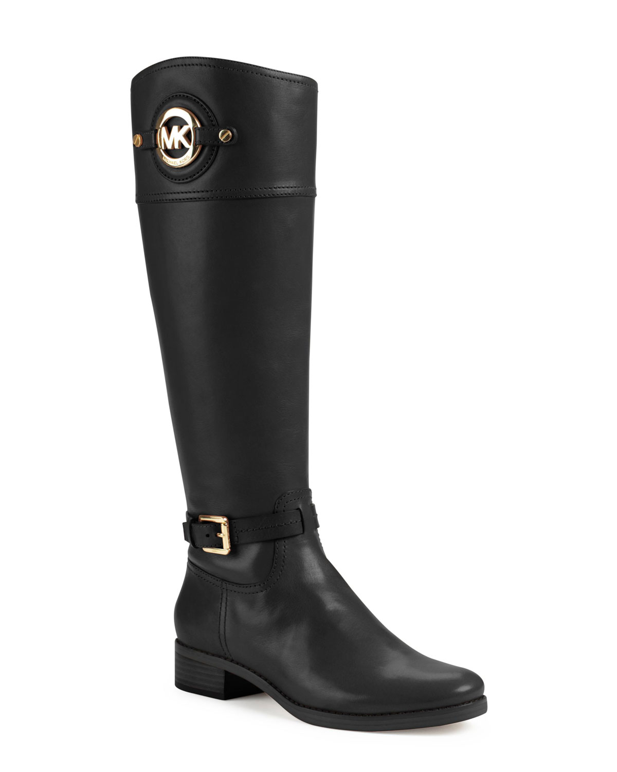 michael kors michael stockard twotone leather riding boot in black lyst. Black Bedroom Furniture Sets. Home Design Ideas