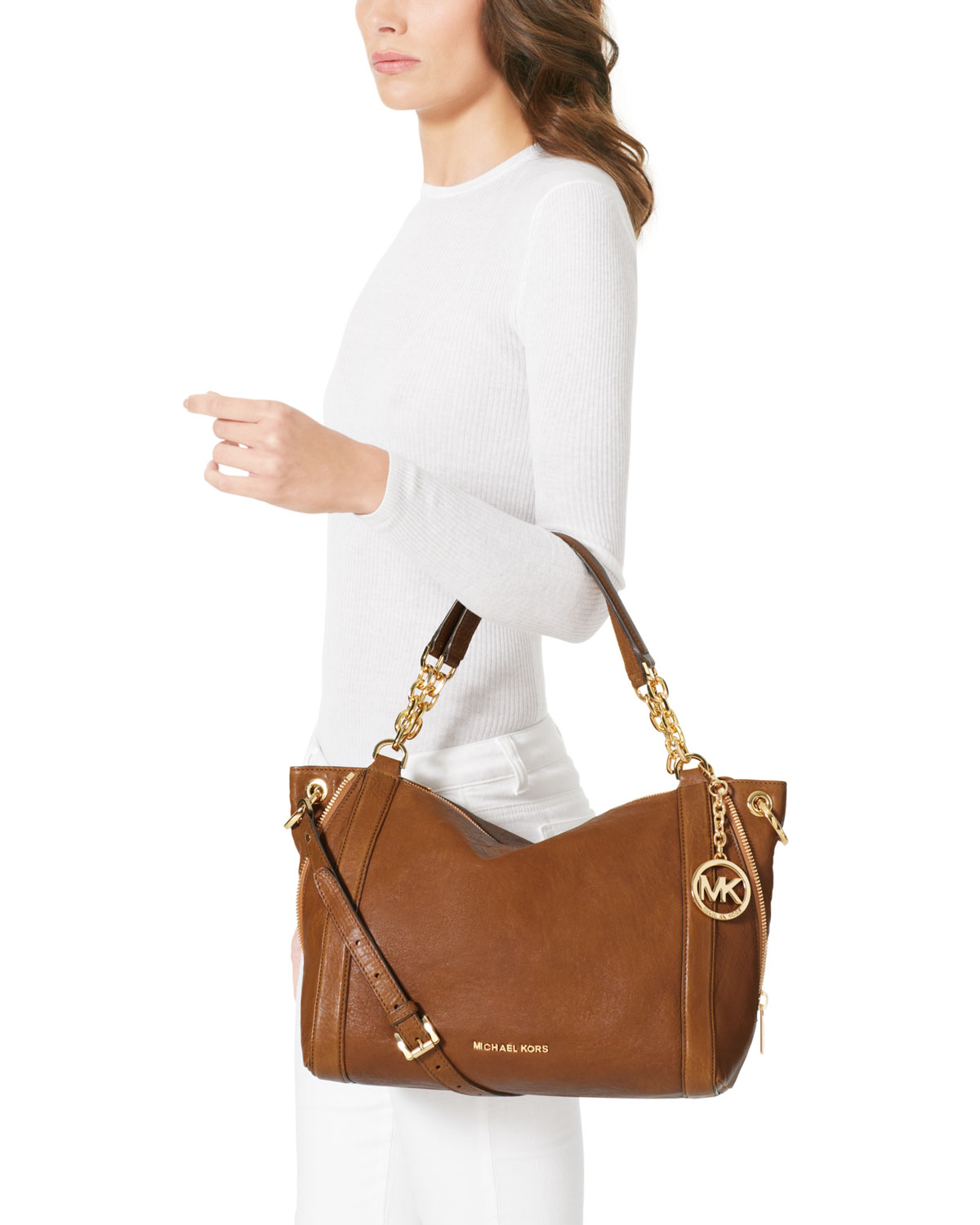 ef882325645380 ... norway michael kors camden large drawstring satchel lyst michael kors  michael large stanthorpe satchel in brown