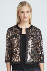 Michael Simon Animalsequined Cropped Jacket - Lyst