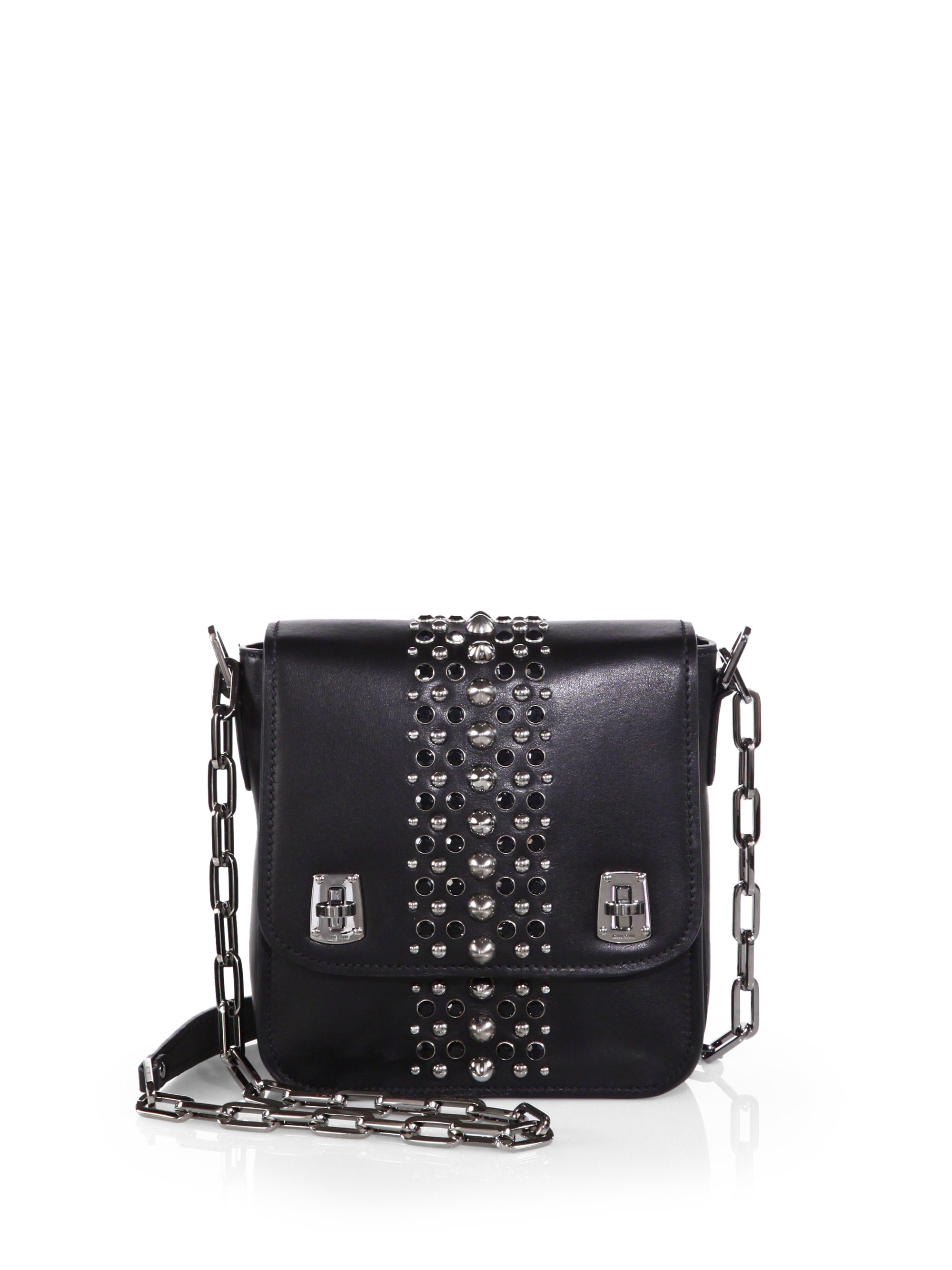 Miu miu Studded Shoulder Bag in Black | Lyst