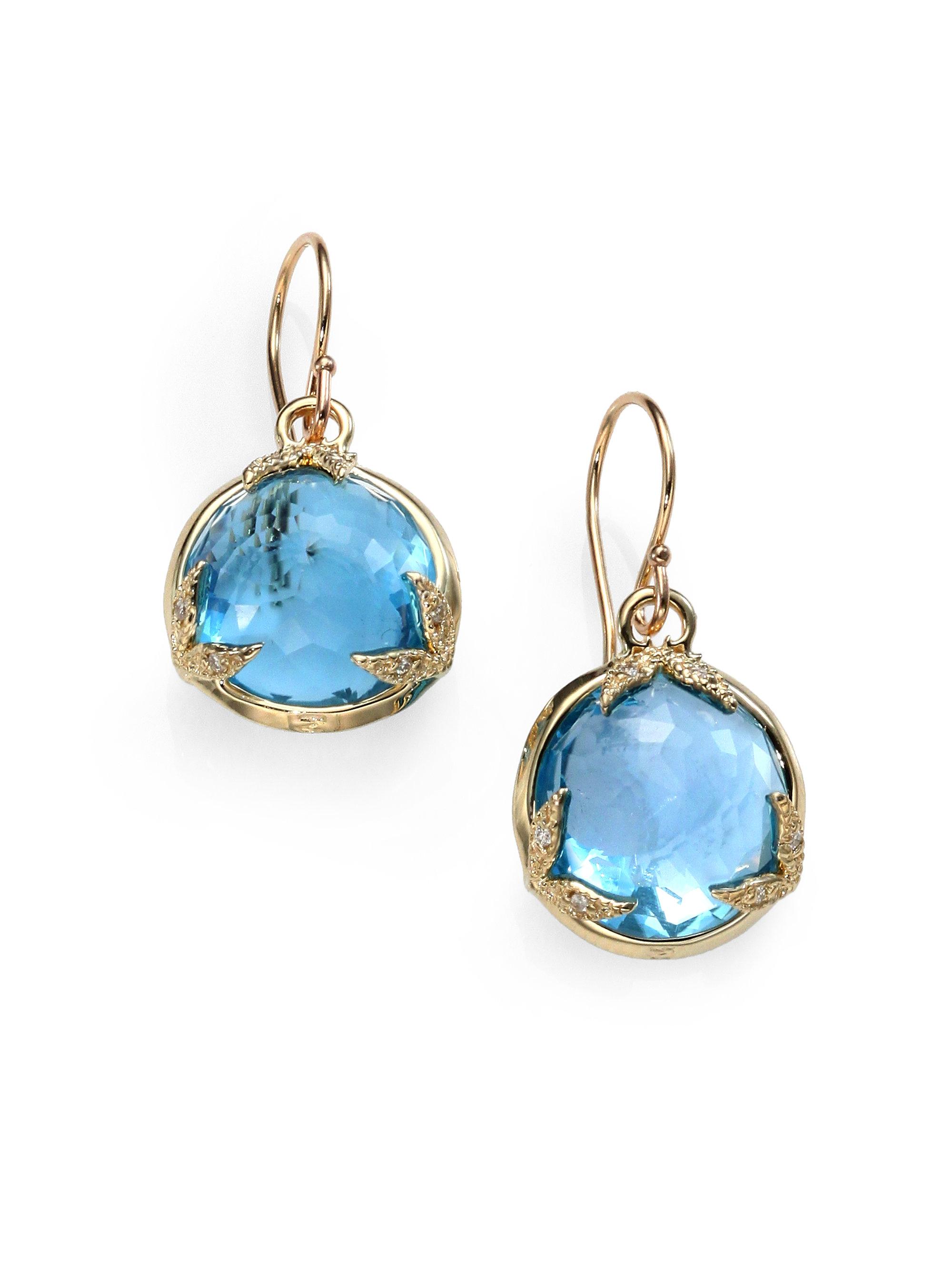 Mizuki Blue Topaz Diamond 14k Gold Drop Earrings in Blue
