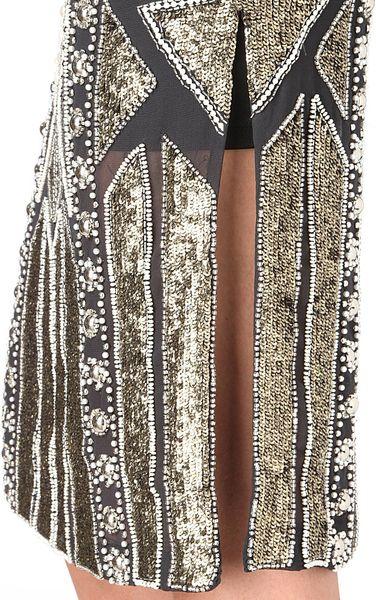 Needle Amp Thread Embellished Flapper Dress In Gold Vintage