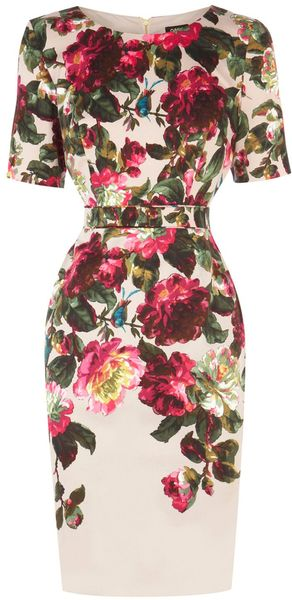 Oasis Winter Rose Print Dress in Beige (Natural) - Lyst