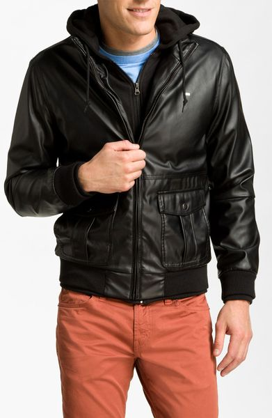 Obey leather jacket men