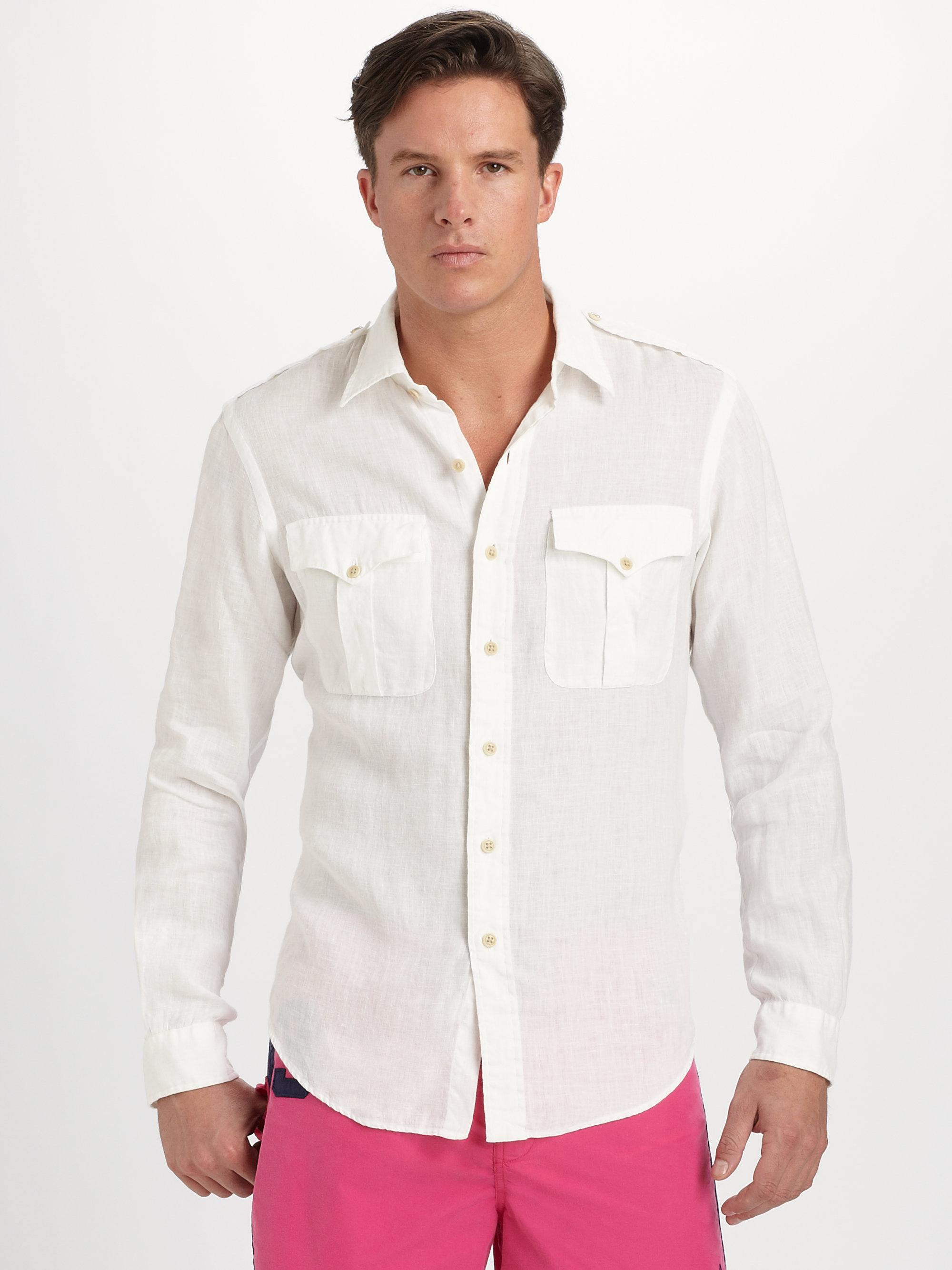 d3e78424b ... sweden lyst polo ralph lauren linen military shirt in white for men  3ebbc d6692