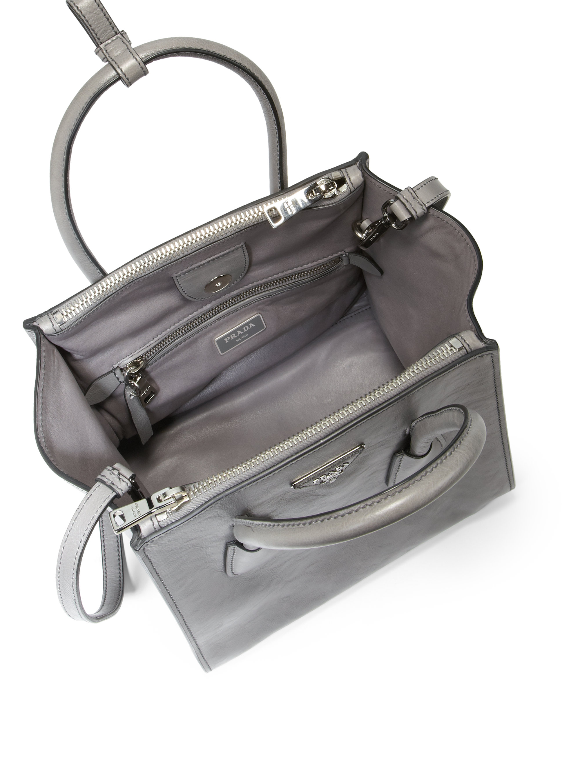 d7b5863a11ac Prada Glace Calf Small Twin Pocket Tote in Gray - Lyst