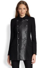 Rachel Zoe Monaco Stretchwool Leather Peacoat - Lyst