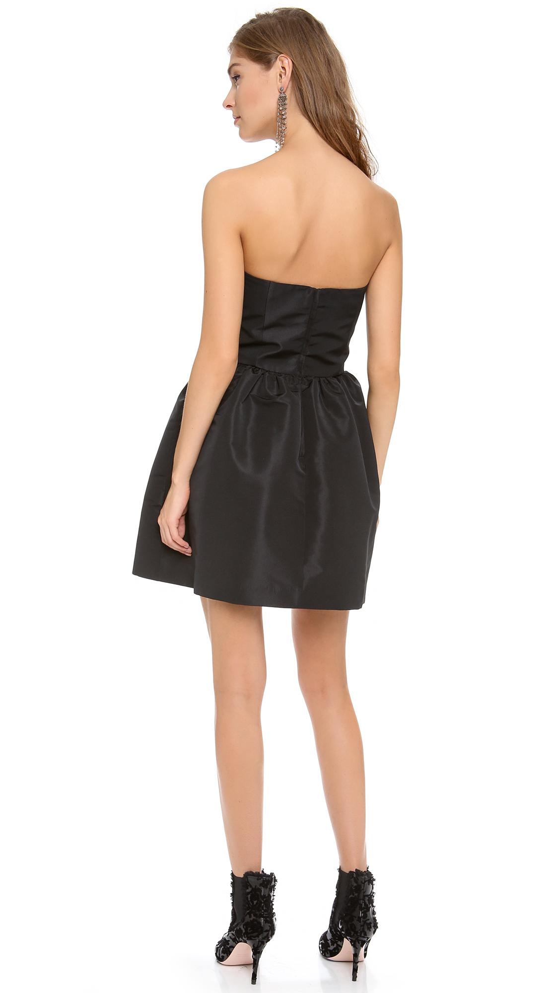 Red Valentino Strapless Bow Mini Dress In Black Lyst