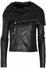 Rick Owens Hooded Leather Biker Jacket - Lyst