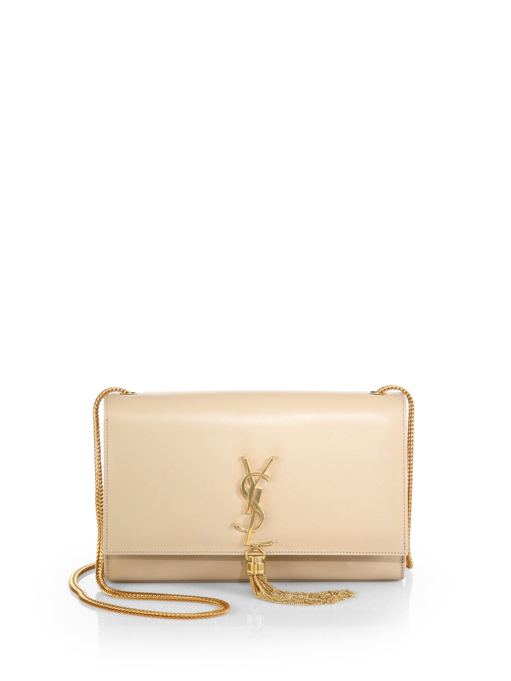 YSL Patent Leather Tassel Chain Bag White