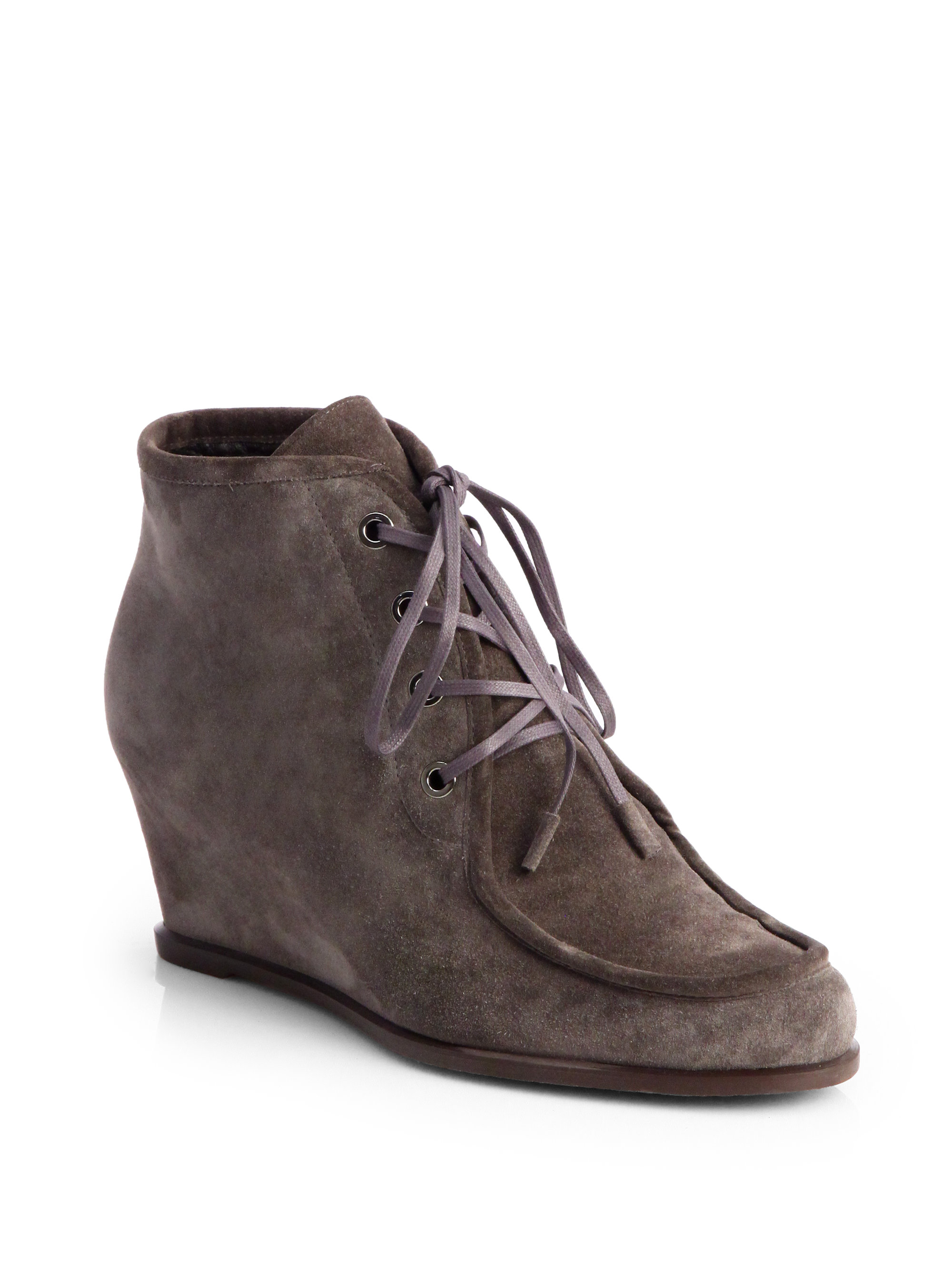 stuart weitzman wallop suede laceup wedge ankle boots in