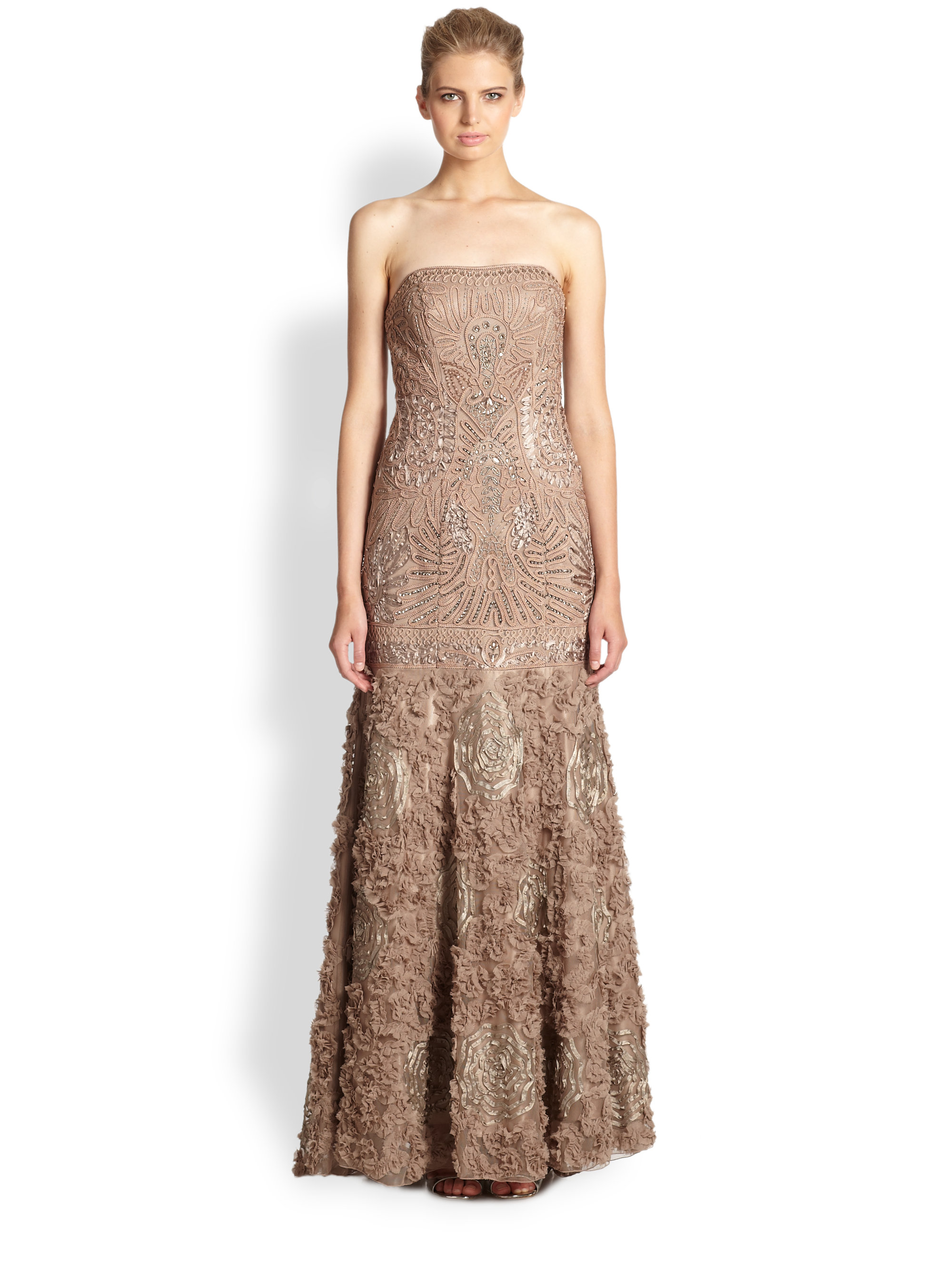 Sue wong Passimenterie Strapless Gown in Natural  Lyst