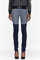 Surface To Air Grey and Indigo Colorblocked Super Skinny Jeans - Lyst