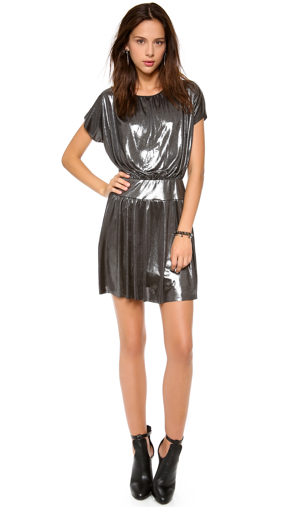 Tbags Los Angeles Short Sleeve Mini Dress In Silver