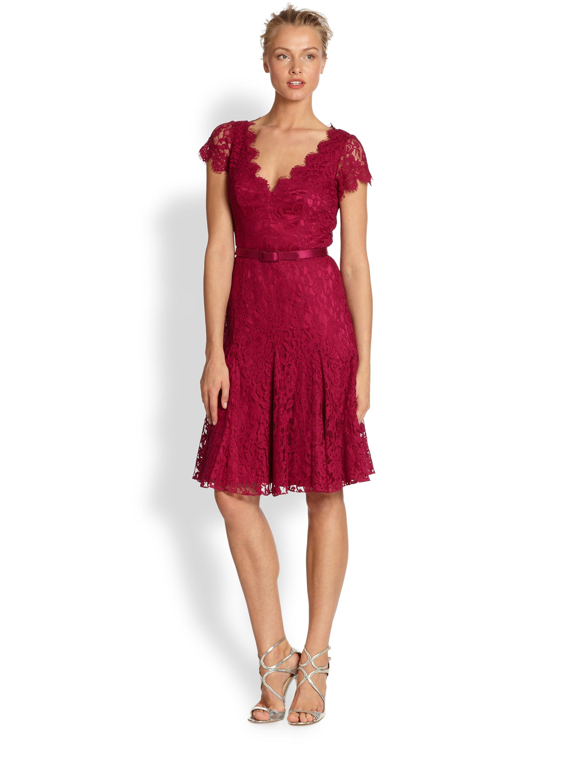 Theia Flared Lace Dress In Red Boysenberry Lyst