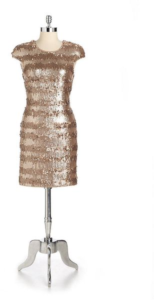 Vera Wang Striped Sequin Cocktail Dress - Lyst