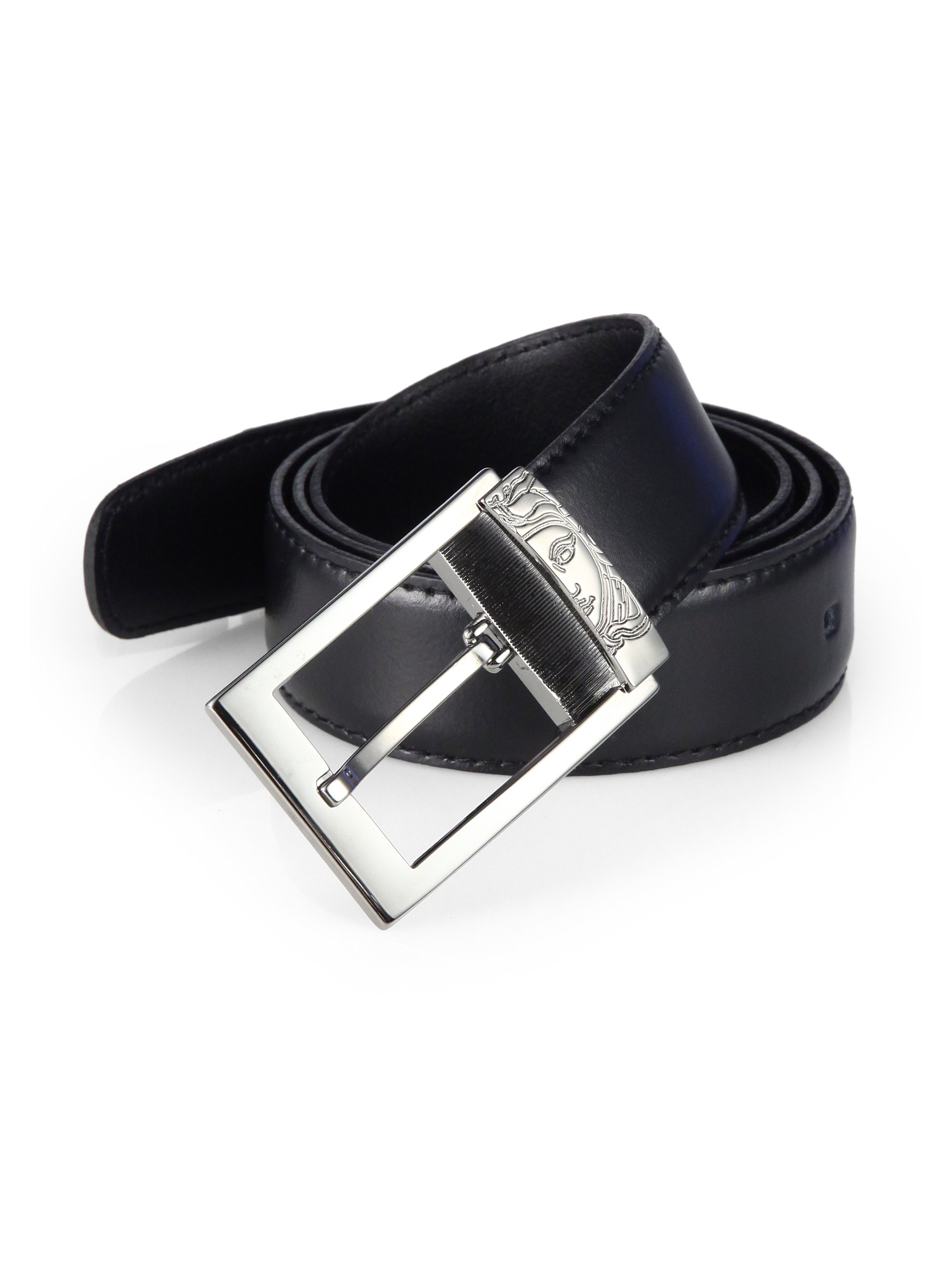 versace leather belt in black for lyst