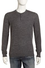 Vince Linen-blend Henley Sweater Gray - Lyst