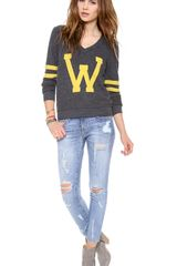 Wildfox Letterman Baggy Beach Sweatshirt - Lyst