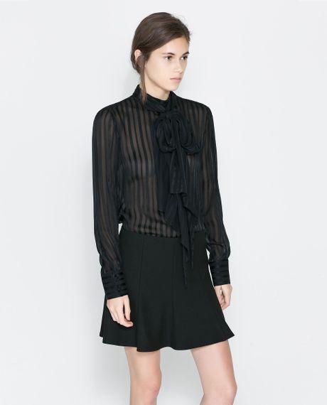 Zara Silk Blouse With Bow 81