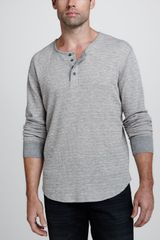 7 For All Mankind Longsleeve Waffleknit Henley Heather Gray - Lyst