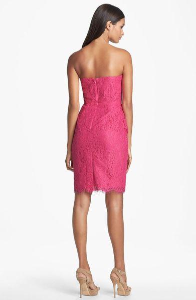 Calvin Klein Strapless Lace Peplum Dress In Pink Dazzle