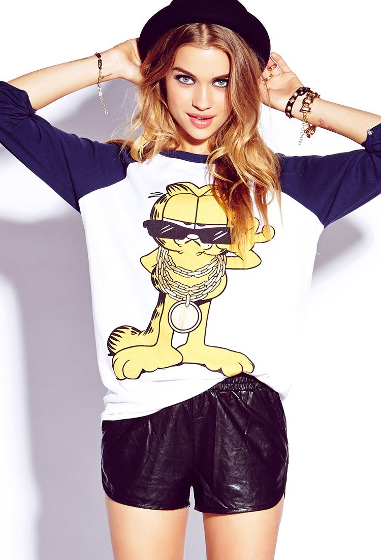21 Cool Nail Art Ideas: Forever 21 Cool Garfield Baseball Tee In White