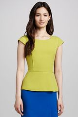 Halston Heritage Capsleeve Peplum Top Apple Green - Lyst