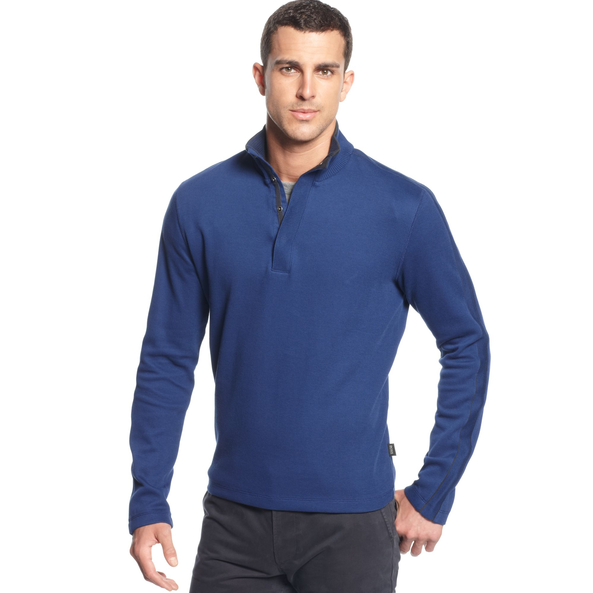 hugo boss boss sweater core piceno snap button sweater in blue for men royal blue lyst. Black Bedroom Furniture Sets. Home Design Ideas