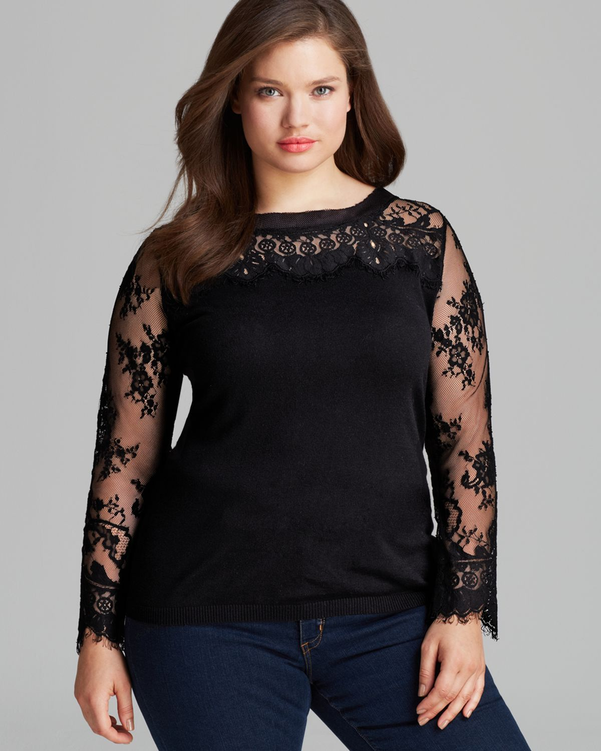 Marina rinaldi Plus Argento Sweater with Lace Sleeves in Black   Lyst