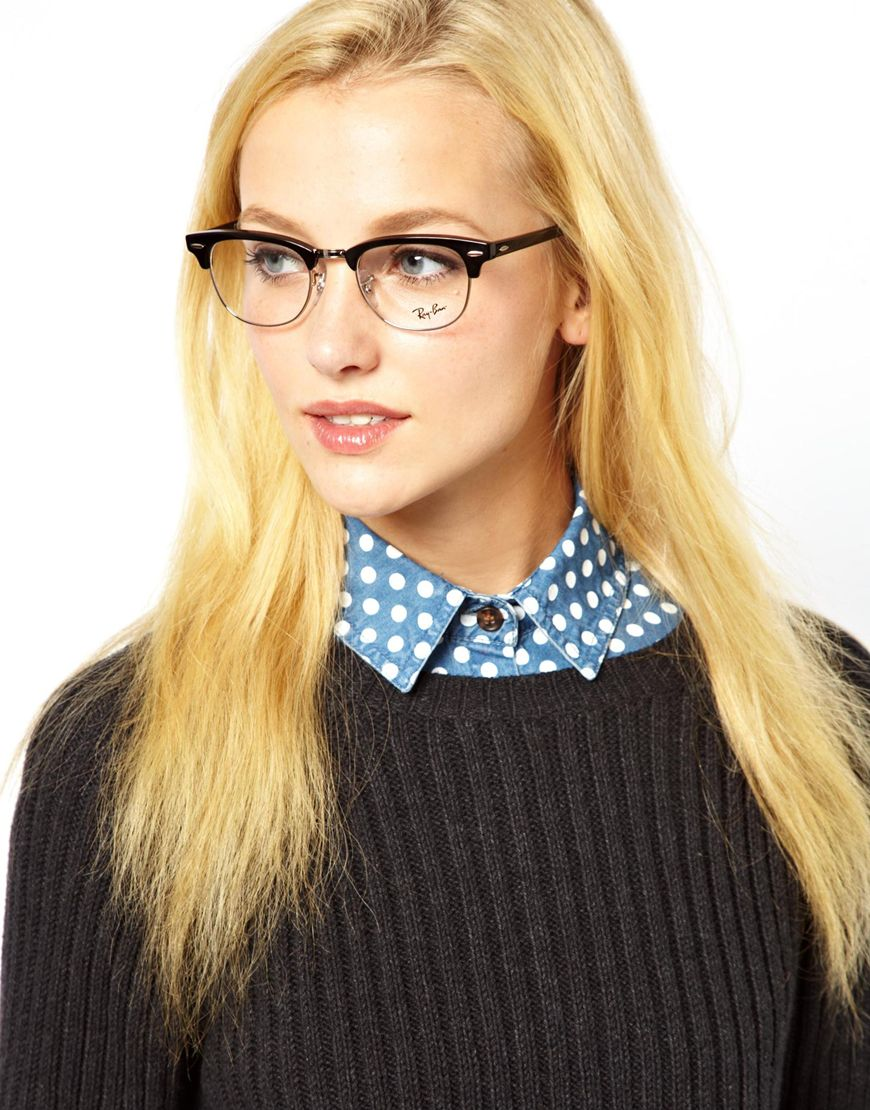 ea1a85b713 ... inexpensive lyst ray ban clubmaster glasses in black 053f1 23d1f
