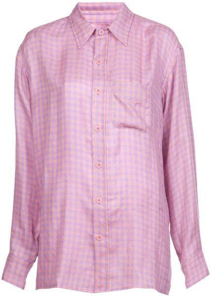 The elder statesman plaid button down shirt in pink pink for Purple plaid button up shirt