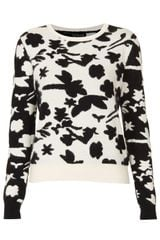 Topshop Knitted Flower Shadow Jumper - Lyst
