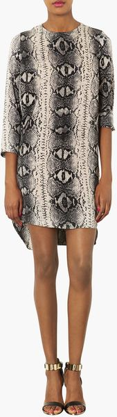 Topshop Snake Print Tunic Dress - Lyst