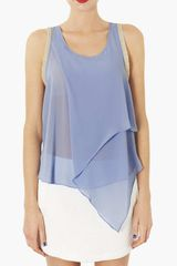 Topshop Front Drape Embellished Sleeveless Top - Lyst