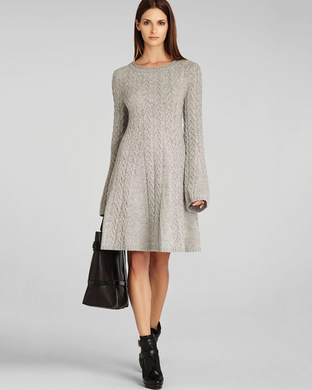 Grey Dress: Bcbgmaxazria Sweater Dress Hoshi Cabled In Gray