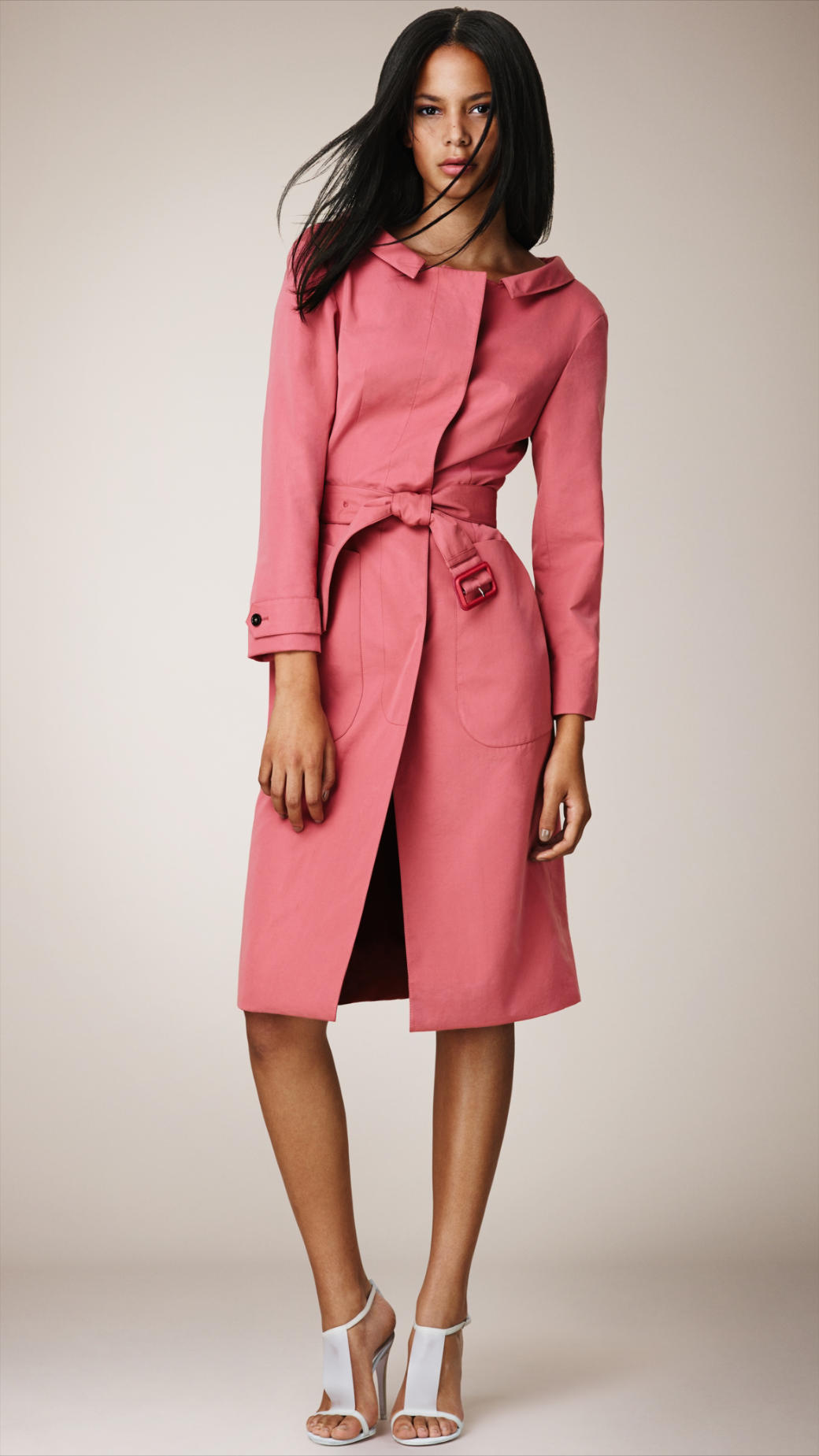 Burberry Dipped Collar Dress Coat in Pink | Lyst