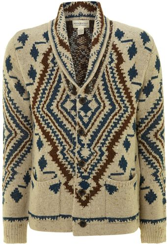 Denim And Supply Ralph Lauren Knitted Pattern Shawl Cardigan - Lyst