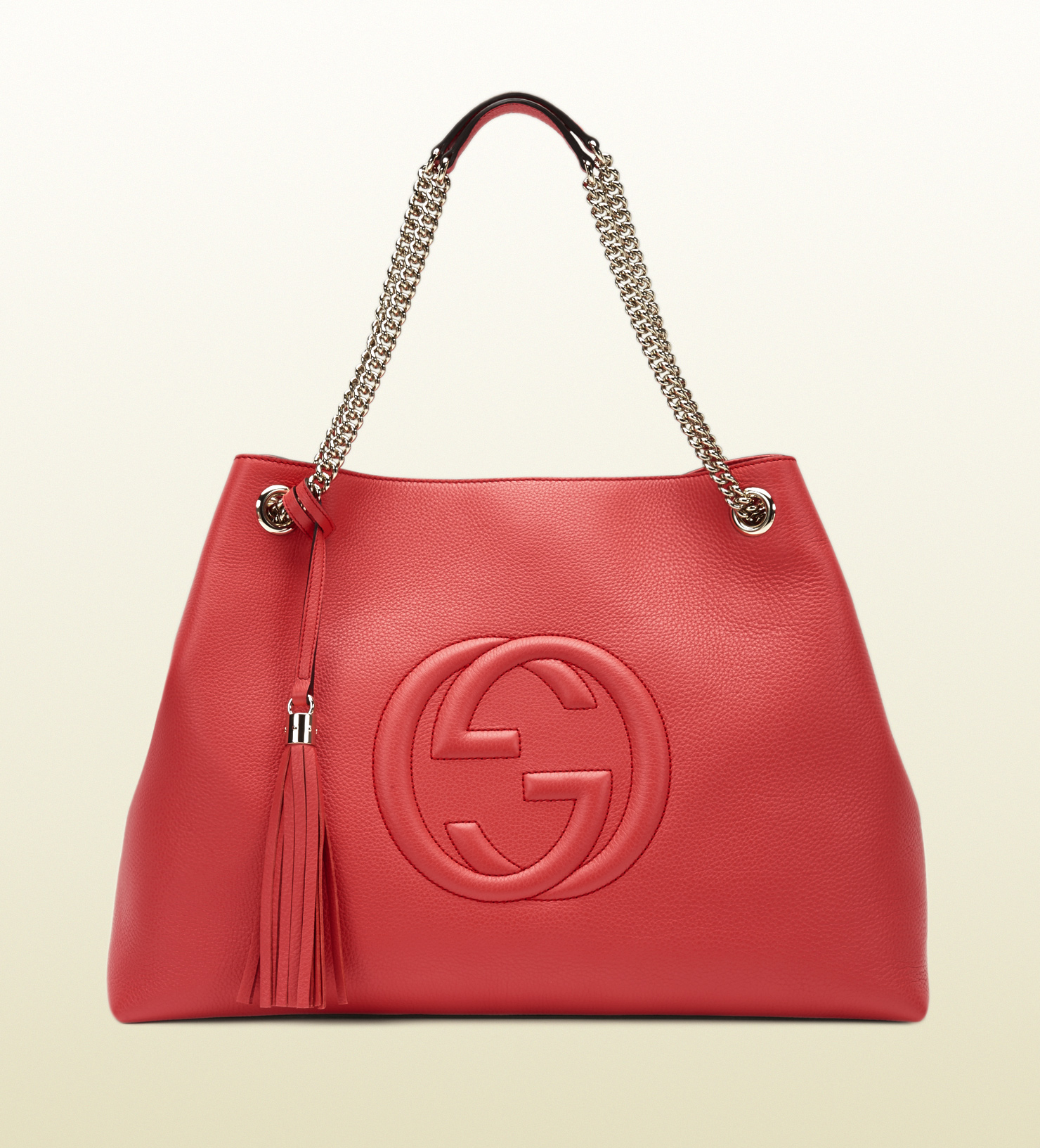 50bf2f96986 Lyst - Gucci Soho Begonia Pink Leather Shoulder Bag in Red