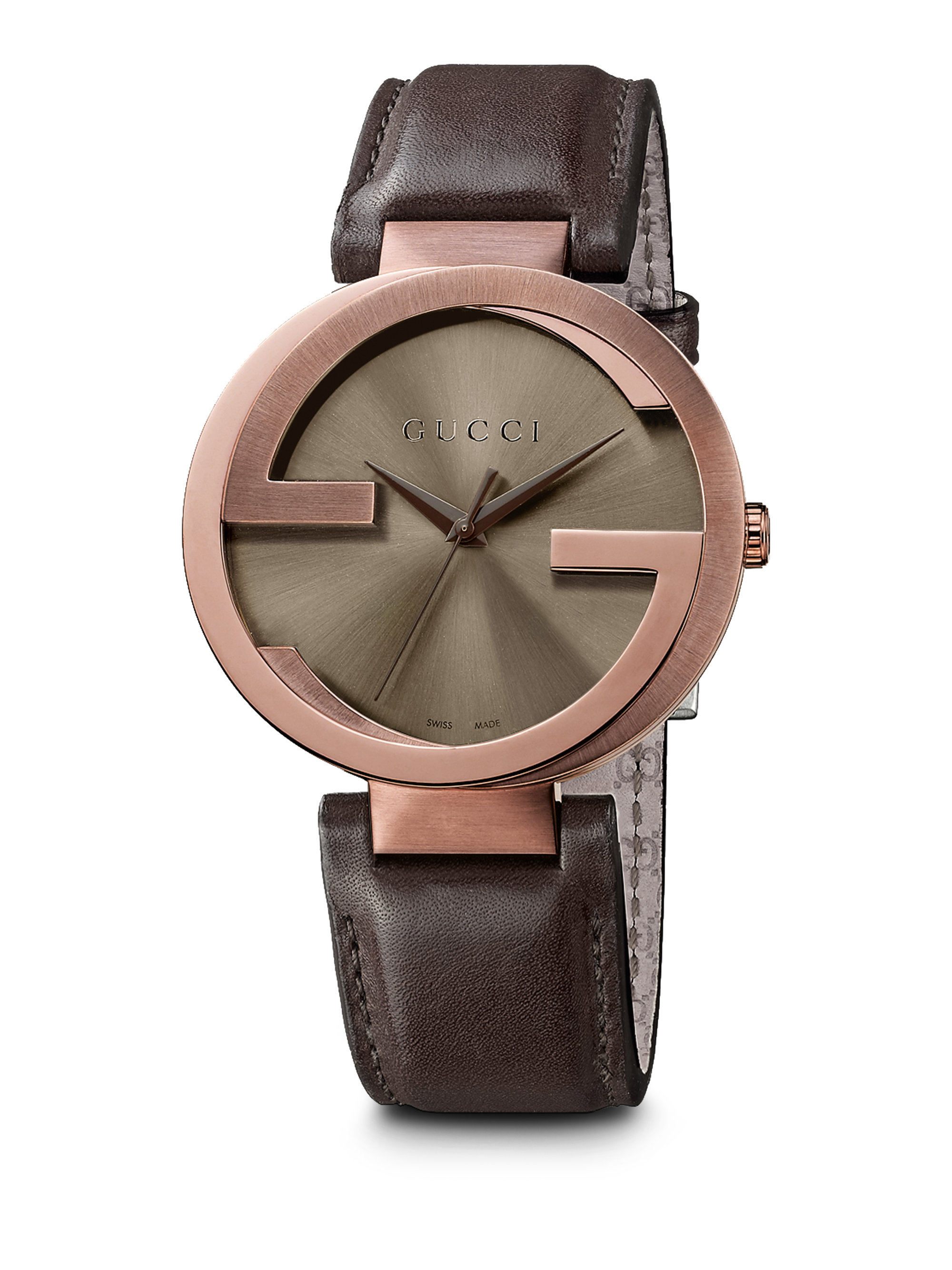 Gucci Interlocking Brown Pvd Stainless Steel & Leather ...