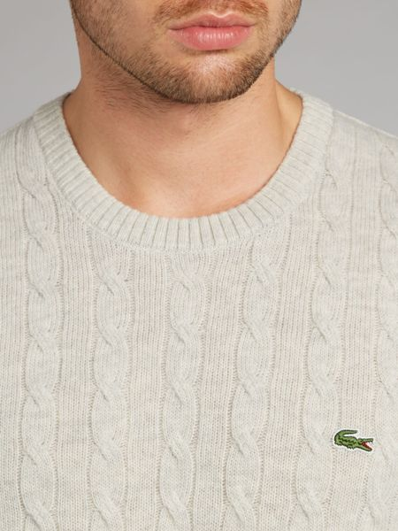 Lacoste Cable Stitch Mens Sweater In White For Men Lyst