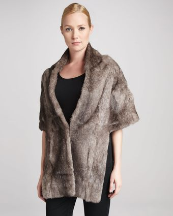 Pologeorgis Long Rabbit Fur Stole with Pockets  - Lyst