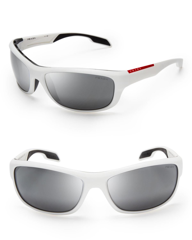 385cb2f401d Lyst - Prada Sport Wrap Sunglasses in White for Men