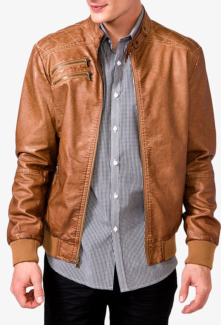 Mens jacket camel - Forever 21 Quilted Faux Leather Jacket In Natural For Men Lyst