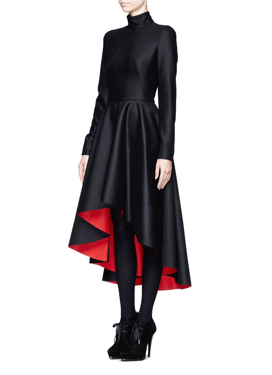 Lyst Alexander Mcqueen Mandarin Collar High Low Dress In