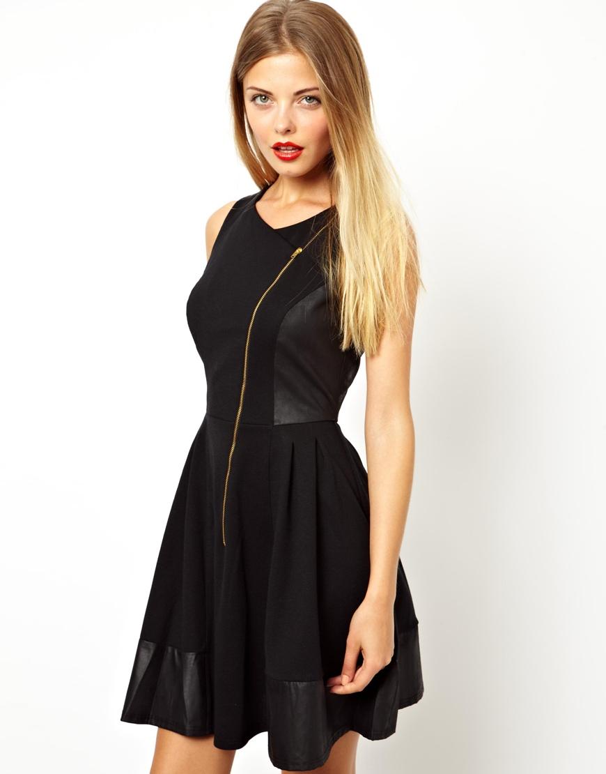 Lyst - ASOS Skater Dress with Leather Look Panels in Black 817540af4