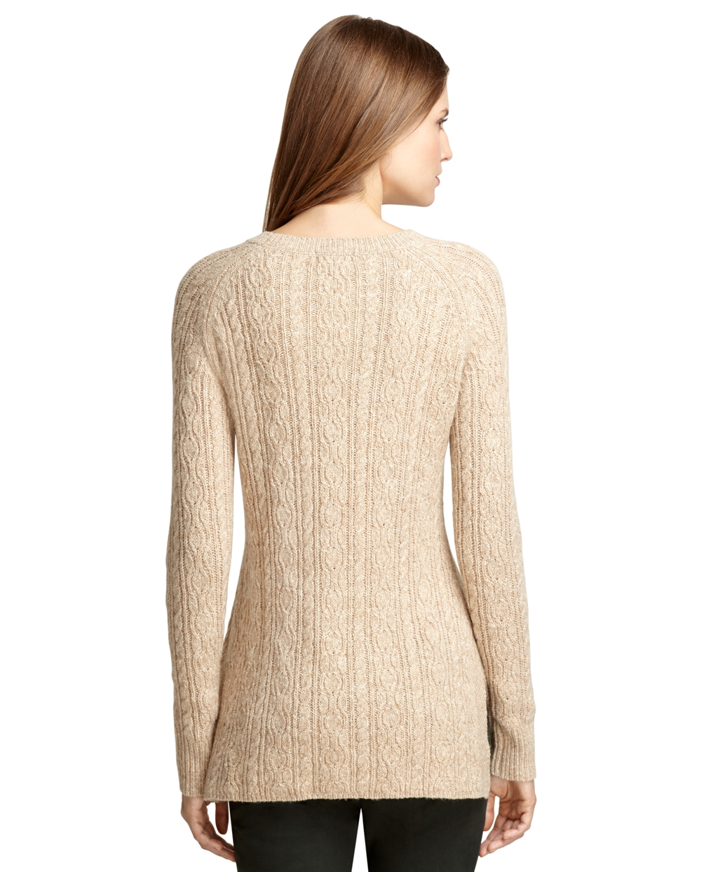 Brooks brothers Camel Hair Cable Knit Tunic Sweater in Natural | Lyst
