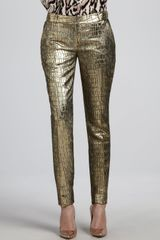 Diane Von Furstenberg Mary Metallic Slim Pants - Lyst